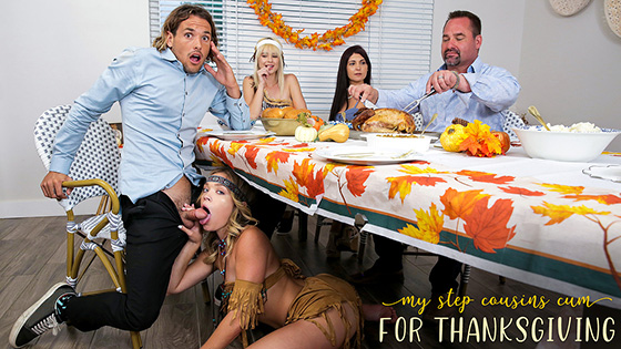 MyFamilyPies – Jessie Saint, Katie Kush – My Step Cousins Cum For Thanksgiving