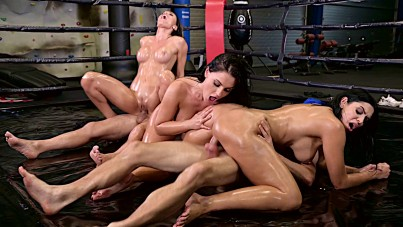 Wild group sex orgy in a boxing ring